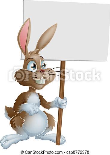 Rabbit holding sign cartoon illustr - csp8772378