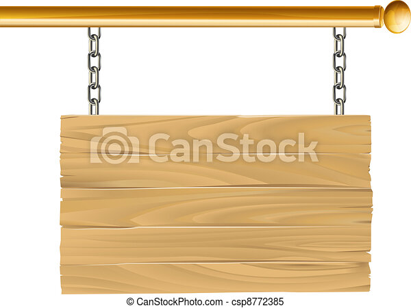 Wood suspended sign illustration - csp8772385
