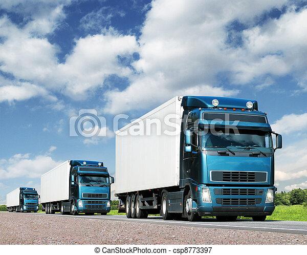 frakt, begrepp, konvoj, Lastbilar, Motorväg, transport - csp8773397