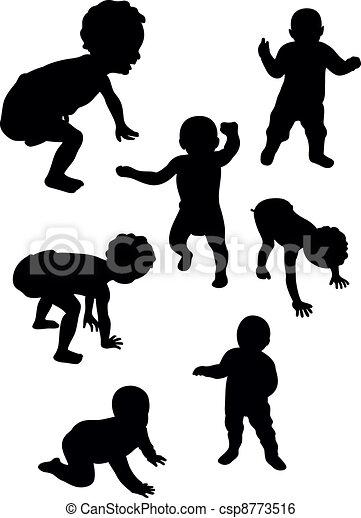Clip Art Vector of baby first steps - set of baby silohuette ...