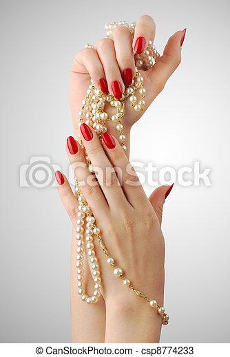 Red manicure - csp8774233