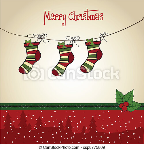 Christmas greeting card with socks  - csp8775809