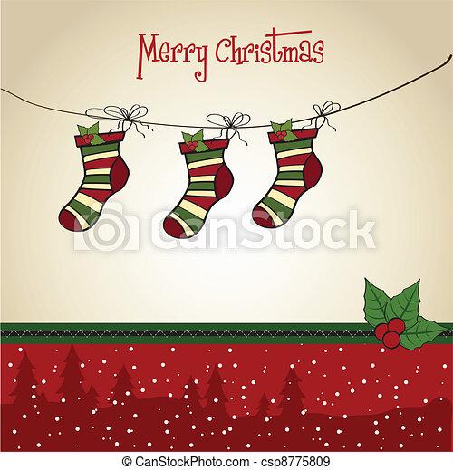 Christmas greeting card with socks  - csp8775809
