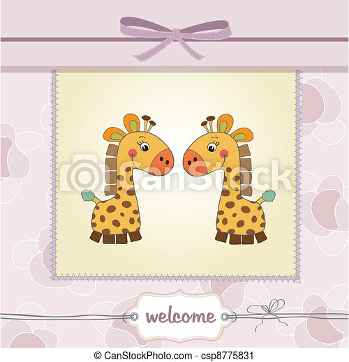 delicate baby twins shower card  - csp8775831