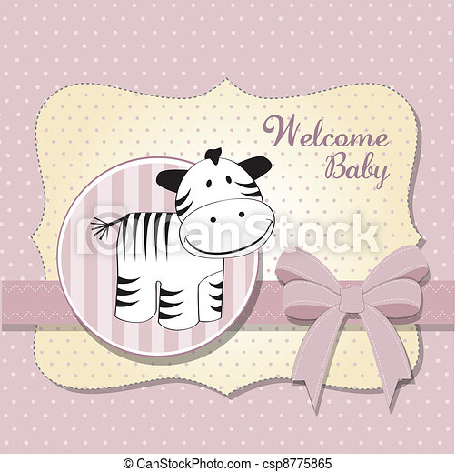 new baby arrived card with zebra - csp8775865