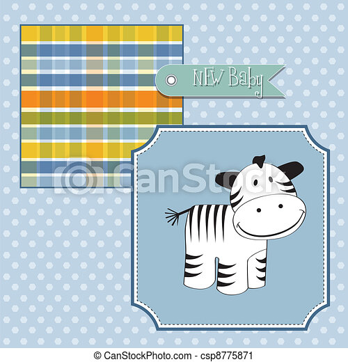 new baby arrived card with zebra - csp8775871