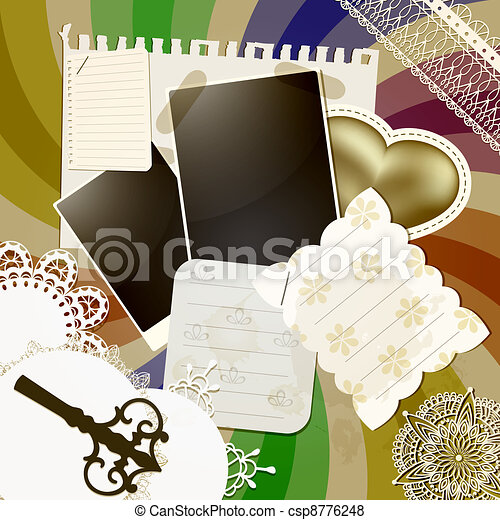vector scrapbook design with abstract retro background, vintage key, napkins, shits of paper, golden  heart, frames, elements can be used separately - csp8776248
