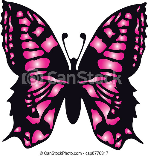 Butterfly Drawings With Color Pink Vector - pink butterfly