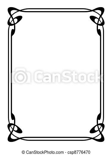 art nouveau ornamental decorative frame - csp8776470