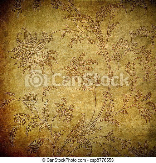grunge floral background - csp8776553