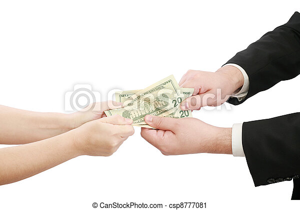 business people fighting over some us money - csp8777081