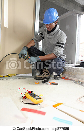 black electrician at work - csp8779891