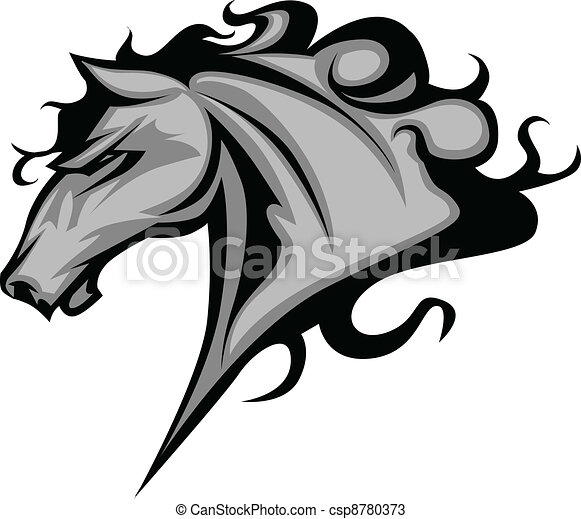 Wild Horse or Stallion Mascot - csp8780373