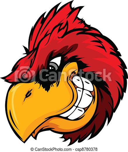 Cardinal or Red Bird Head Cartoon - csp8780378