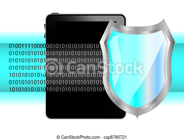 Tablet pc with shield. Protection of data on tablet - csp8780721