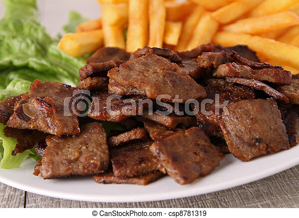 doner kebab with french fries - csp8781319