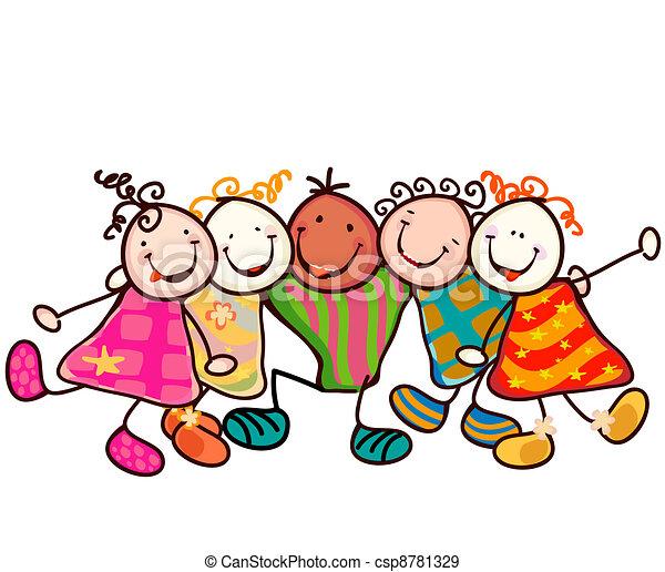 EPS vectores de niños, juego - grupo, sonriente, niños, divertido ...