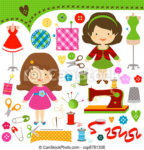 sewing girls - csp8781338