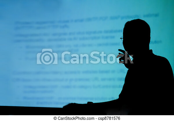 silhouette of a man doing presentation - csp8781576