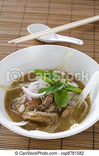 malaysian famous food asam laksa - csp8781582