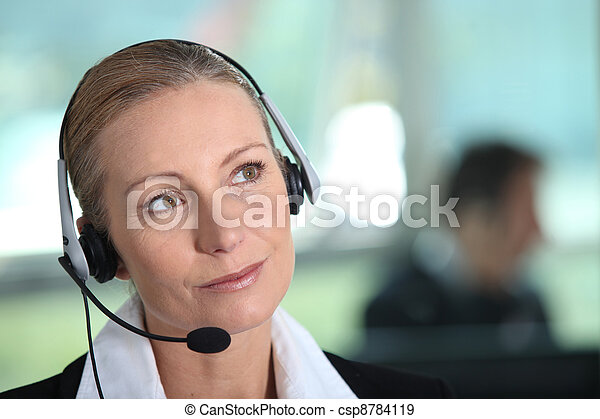 Woman with headset - csp8784119