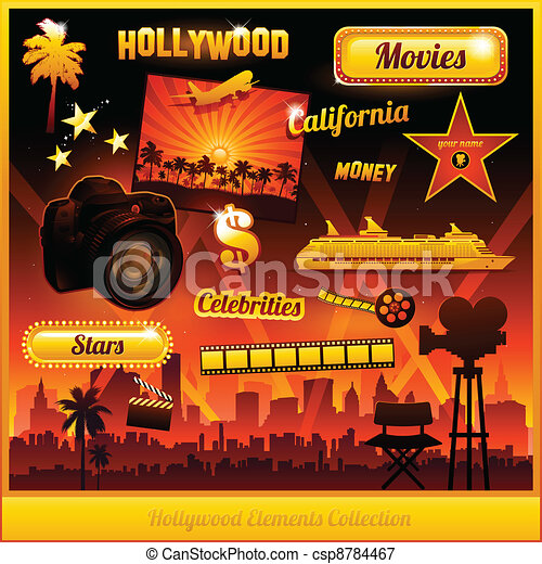 Hollywood cinema movie elements - csp8784467