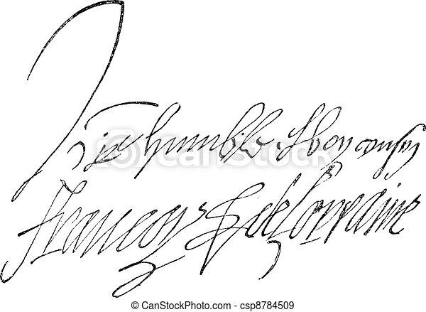 Signature of Francois de Lorraine, Duke of Guise (1519-1562), vintage engraving. - csp8784509