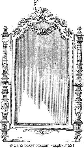 Ornate Louis XVI French style mirror, vintage engraving. - csp8784521