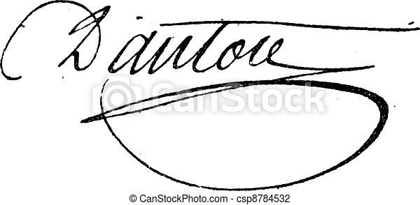 Signature of Georges Jacques Danton (1759-1794), vintage engraving. - csp8784532