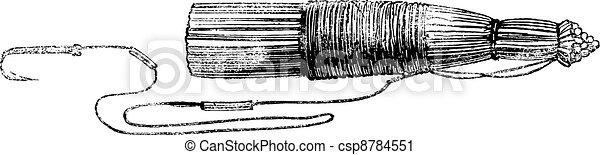 Fig. 103. Fishing gear, Surface Lure, vintage engraving. - csp8784551