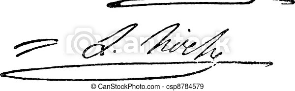 Signature of Louis Lazare Hoche  (1768-1797), vintage engraved illustration. Dictionary of words and things - Larive and Fleury - 1895. - csp8784579
