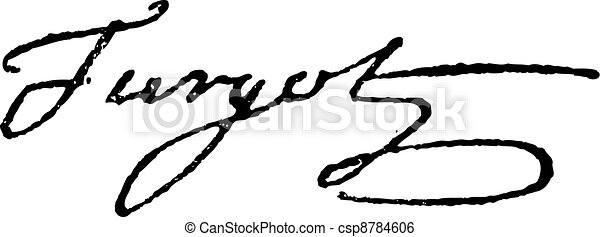 Signature of Anne-Robert-Jacques Turgot or Baron de Laune or Turgot (1727-1781), vintage engraving. - csp8784606