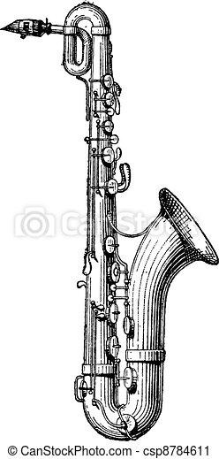Saxophone vintage engraving - csp8784611