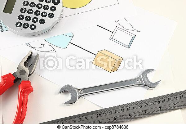 Engineer desktop with parallel hand tools. - csp8784638