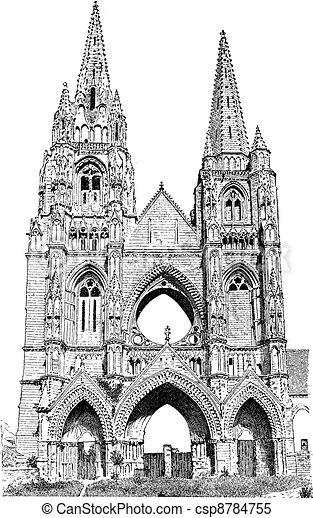 Abbey of St. Jean des Vignes vintage engraving - csp8784755