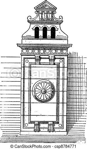 Chimney stack, vintage engraving. - csp8784771