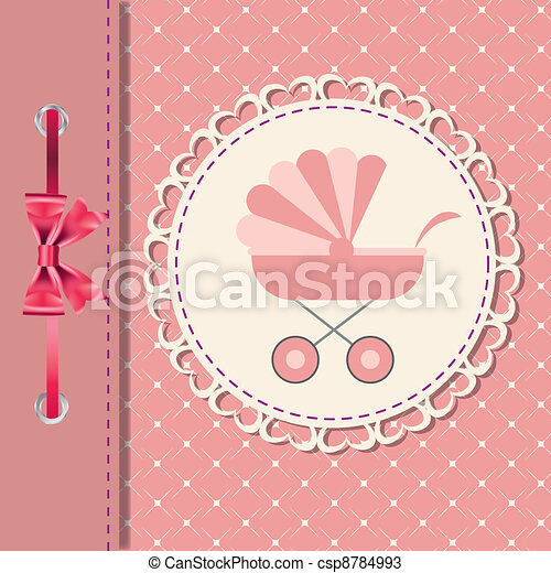 Vector illustration of pink baby carriage for newborn girl - csp8784993