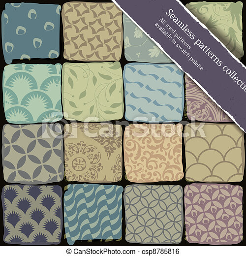 Seamless patterns collection. All used patterns available in swatch palette. Vector, EPS10 - csp8785816