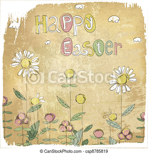 Happy Easter Vintage Card. - csp8785819