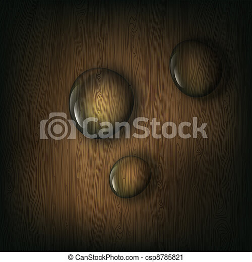 Water drops on wooden background, eps10 - csp8785821
