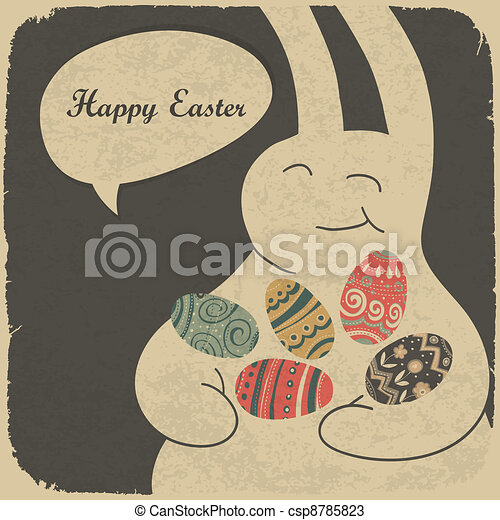 Chocolate rabbit and easter eggs. Retro style illustration. - csp8785823