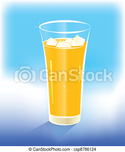 Glass of range juice with ice - csp8786124