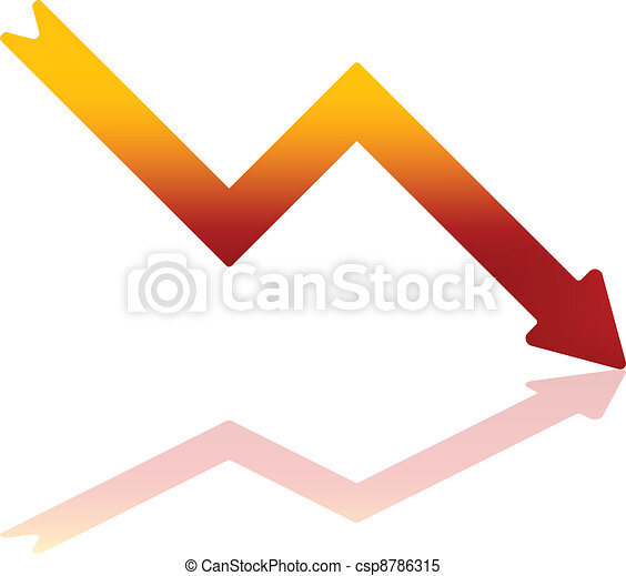 Gradient Red Decline Arrow - csp8786315