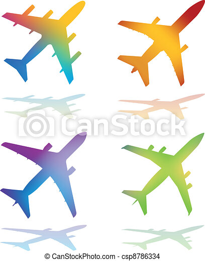 Gradient Color Vector Airplanes - csp8786334