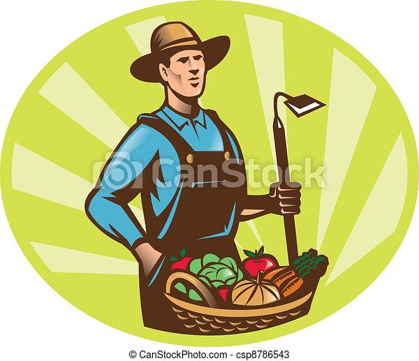 Farmer With Garden Hoe And Basket Crop Harvest - csp8786543