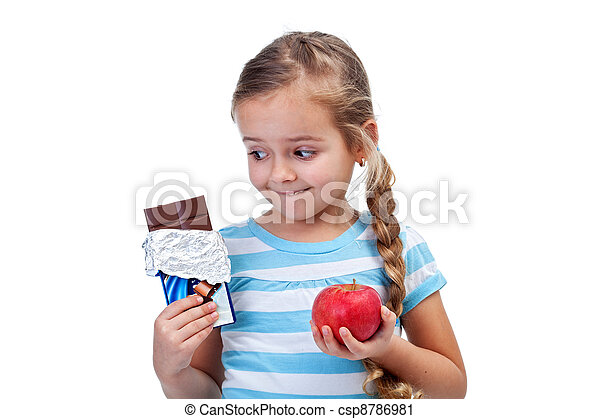 Diet choices - little girl with apple and chocolate - csp8786981