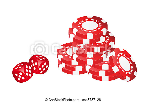 Poker Chips With Dice - csp8787128