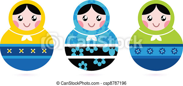 Russian doll serries isolated on white - csp8787196