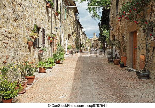 street paved with brick in old italian borgo Sovana in Tuscany, Italy, Europe - csp8787541