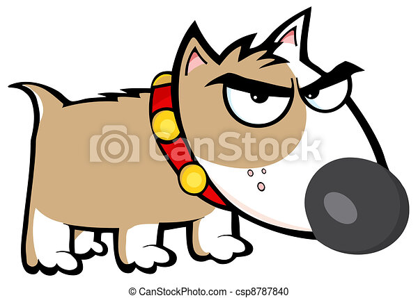 Angry Brown Dog Bull Terrier - csp8787840